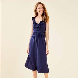 NWT Lilly Pulitzer Leena Midi Dress Navy XS